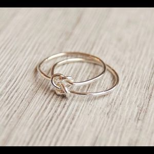 knot ring, silver double knot, 18 gauge 1mm